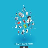Healthcare, integrated 3d web icons. Digital network isometric concept