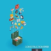 Construction integrated 3d web icons. Growth and progress concept