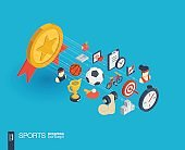Sport integrated 3d web icons. Growth and progress concept