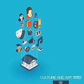 Culture and art integrated 3d web icons. Growth progress concept