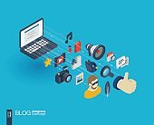 Blogging integrated 3d web icons. Growth and progress concept