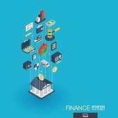 Finance integrated 3d web icons. Growth and progress concept