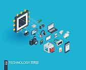 Technology integrated 3d web icons. Growth and progress concept
