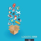 Logistic integrated 3d web icons. Growth and progress concept