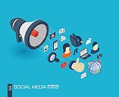 Social Media integrated 3d web icons. Growth and progress concept