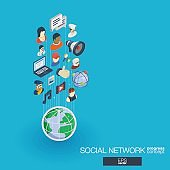 Society integrated 3d web icons. Growth and progress concept