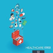 Healthcare, integrated 3d web icons. Growth and progress concept