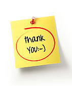 Yellow Sticky Note with Thank You Message and Red Push Pin on White