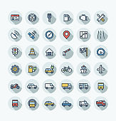 Flat color line icons