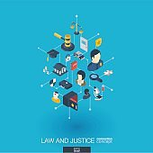 Law and justice integrated 3d web icons. Digital network isometric concept.