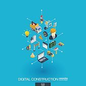 Website under construction integrated 3d web icons. Digital network isometric concept.