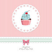 Vintage greeting card template with cupcake.