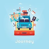 Travel by car. World Travel. Planning winter vacations. Tourism and vacation theme. Flat design vector illustration.