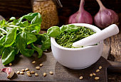 pesto sauce with ingredients for cooking