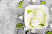 Mint ice cream in bowl on a gray background. Top view, copy space. Food background