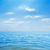 blue sea and clouds in sky over it