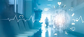 Medical icon network connection with modern virtual screen interface on hospital background, medicine technology network concept