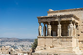 Caryatides, Erechtheion temple Acropolis in Athens, Greece