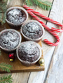 Chocolate cupcakes with powdered sugar