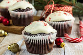 Chocolate cupcakes with candy cane
