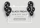 Black friday sale poster with black balloons on gray banner background. Vector illustration