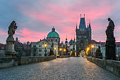 Sunset at Charles bridge in Prague