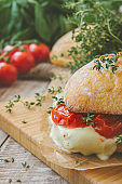 Bruschetta sandwich with tomatoes, herbs and oil on toasted garlic cheese bread. Toned.