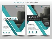Green abstract triangle annual report Brochure design template vector. Business