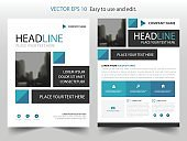Blue abstract square annual report Brochure design template vector. Business