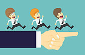 Businessman group running in the same direction with big hand pointing.Cartoon of business success is the concept of the man characters business,background, banner, infographics. vector illustration
