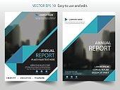 Blue black triangle Brochure annual report Leaflet Flyer template design
