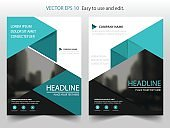 Blue triangle Vector Brochure annual report Leaflet Flyer template design