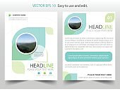 Green abstract ecology Brochure design template vector. Business Flyers infographic