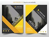 Yellow abstract Vector Brochure annual report Leaflet Flyer template design