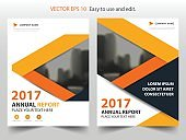 Orange abstract triangle annual report Brochure design template vector. Business