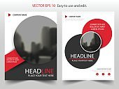Red abstract circle annual report Brochure design template vector. Business