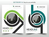 Green abstract circle annual report Brochure design template vector. Business