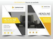 Yellow abstract triangle annual report Brochure design template vector. Business