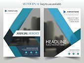 Blue abstract triangle annual report Brochure design template vector. Business