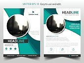 Green abstract circle annual report Brochure design template vector Business.