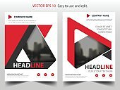Red abstract triangle annual report Brochure design template vector Business