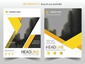 Yellow abstract triangle annual report Brochure design template vector Business