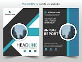 Blue abstract circle annual report Brochure design template vector Business