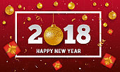 Vector 2018 Happy New Year background with golden christmas ball bauble, red gift boxes and stripes elements