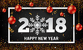 Vector 2018 Happy New Year background with red christmas ball baubles, paper style snowflake, gold glitter and stripes elements