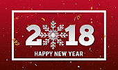 Vector 2018 Happy New Year background with paper style snowflake and stripes elements