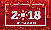 Vector 2018 Happy New Year background with paper style snowflake, golden glitter and stripes elements
