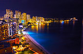 Hawaii night's Waikiki Beach