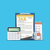 Concept tax payment. Data analysis, paperwork, financial research report and calculation of tax return. Payment of debt.