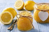 Homemade lemon jam in glass jars.